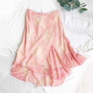 Tibi Floral Asymmetrical Sheer Silk Midi Skirt 6